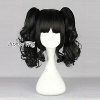 Lolita Black 35CM Short Fashion Cosplay Harajuku Full Wig + Two Curly Ponytails