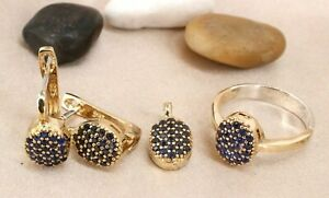 Turkish Handmade Sapphire Silver 925 Set Earring Ring Pendant 6-12