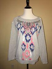 Plus Moda Women's Gray Cotton Blend  Metal Detail Long Sleeve Shirt size 3X