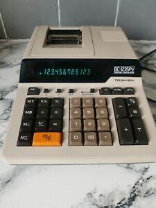 Vintage Adding Machine Desk  Printing Calculator Toshiba BC-1235PV