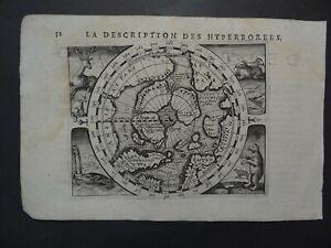 1618 BERTIUS  Atlas Hondius POLAR map  NORTH POLE - Description des Hyperborees