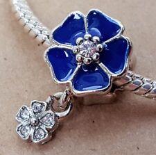 Poetic Blooms Royal BLUE Flower Crystals Dangle Bead fit European Charm Bracelet