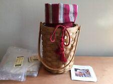 Longaberger Beverage Tote Basket w/ Liner & Protector