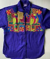 MY NAME IS PANAMA Women's S/S Button Shirt,  Purple, M Bright Mola Parrots NWT