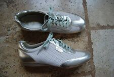 Ivory Sueded Perforated and Silver Metallic COLE HAAN Nike Air Laced Flats 9 B
