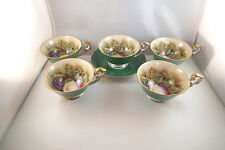 Vintage Rossetti Made in Occupied Japan Set of 5 Cups & 1 Saucer Green Fruit