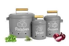 3 Vorratsbehälter Kartoffeltopf Knoblauchtopf Zwiebeltopf Vorratsdosen grau matt