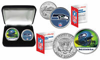 SEATTLE SEAHAWKS Officially Licensed NFL 2-COIN U.S SET w/ Deluxe Display Box