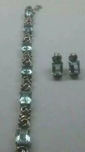 Moving Sale Art Deco18k White Gold Aquamarine Bracelet w6 -14.85ct. + Earrings