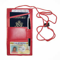 Red Leather Travel Lanyard Passport Air Ticket ID Card Holder Neck Strap