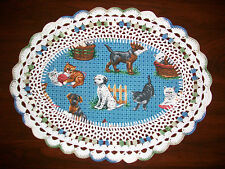 New Handmade Oval Crochet Doily--Cats and Dogs/Dalmation