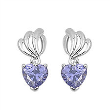 Heart Tanzanite Cz Dangle .925 Sterling Silver Earrings
