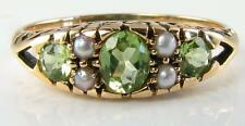 LOVELY 9K 9CT GOLD  PERIDOT & SEED PEARL ART DECO INS RING FREE RESIZE