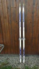 "Vintage Skis 81"" Long Original White Blue Signed Huber Great for Decoration"