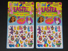VTG MIP NOS Set of Two Packages Lisa Frank Easter Body Stickers 4 Sheets Total