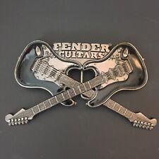 Fender Guitars Metal Belt Buckle Two Electric Guitars Black