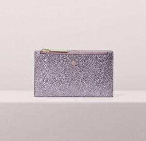 Original Packaging NWT Kate Spade Burgess Court Lilac Glitter Small Slim Wallet