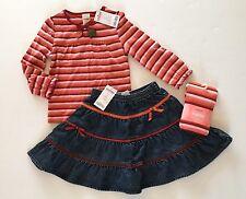 NWT Gymboree Harvest Leaves 3 3T Red Stripe Tee Ribbon Denim Skirt & Tights