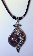 "Purple w/ Pink Cat's Eye Silver Swirl Design Pendant 17.5"" Cord Necklace NEW!"