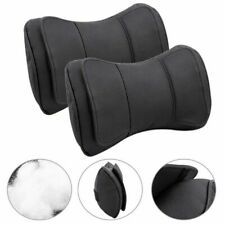 Pair Black Genuine Leather Car Truck Seat Neck Rest Headrest Double Layer Pillow