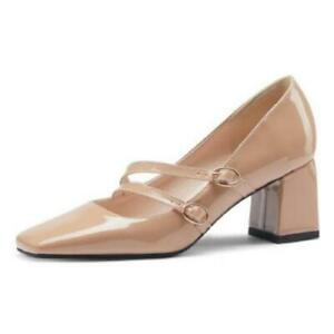 Trendy Lady Square Toe Block Heel Ankle Strap Casual Mary Janes Shoes 46 47 48 D