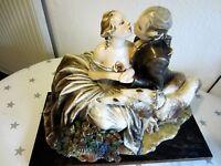 Große Antik Liebespaar Figur Porzellan/Keramik Made in Italy Unterschrieben/9 kg