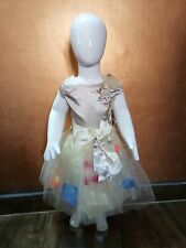 Kids Party Dress Beige and gold Colour 6-7 Yrs