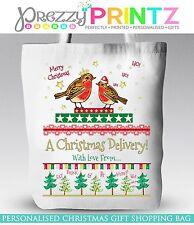 PERSONALISED CHRISTMAS EVE GIFT BAG TOTE SHOPPING STOCKING KIDS SECRET SANTA