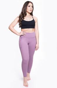 "Women Leggings High Waist Purple Yoga Pants Tummy Control Pockets 28"" AZARMAN"