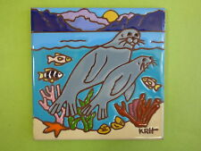 "Ceramic Art Tile 6""x6"" Ocean sea sea lion seal fish vibrant handpainted K48"