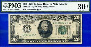 FR-2050-F* - 1928 $20 FRN (( Highly Wanted - Atlanta STAR )) PMG 30EPQ # 16334*-
