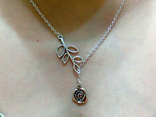 Vintage rose silver necklace pendant,antique leaf branch chain necklace.