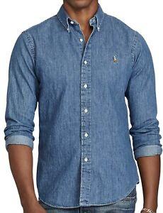 POLO RALPH LAUREN Chambray Button-Down Men's Washed Denim Shirt- Custom Fit