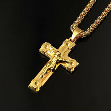Men's Manly Jesus Cross Pendant Necklace Designed With Sweater Cuban Chain