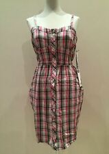 Size Medium Quicksilver Coldharbor Dress Checked Button Pink Black Ladies 10 12