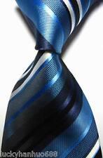 New Classic Stripes Dark Blue White JACQUARD WOVEN 100% Silk Men's Tie Necktie