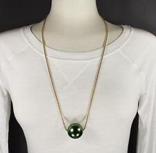 """Green big huge faux pearl necklace bead beaded 29"""" long statement sweater gold"""