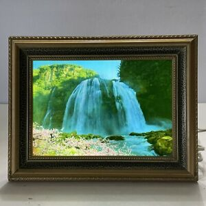 Vintage Framed Light Up Motion Waterfall Tabletop Picture With Water Bird Sounds