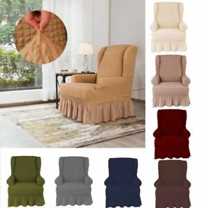 Stretch Ruffle Skirt Wing Back Arm Chair Cover Slipcovers Sofa Protector