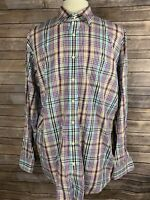 Peter Millar Mens XXL Purple Blue Multi Color Checkered Plaid Button Front Shirt