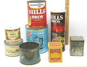 9 pc Vintage Collectible Advertising Tins Lipton Tea+Yuban+Hills+A&P+Fishers Nut