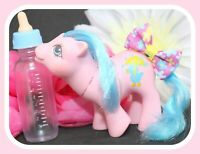 ❤️My Little Pony MLP G1 Vtg Drink 'n Wet Baby Rainfeather Blue Mane Duck Cutie❤️
