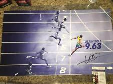 USAIN BOLT OLYMPICS TRACK STAR FASTEST MAN JSA SIGNED 12X22 SILK PHOTO COA