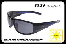 Full Chisel-Trade Pro-Safety Glasses Black Frame with Smoke Lens UV 400