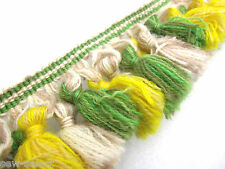 185cm of Green & yellow 7cm curtain tassel fringe trimming sewing designer trim