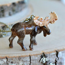 Antique Bronze Chain, Ceramic Animal Hand Painted Porcelain Bull Moose Necklace,
