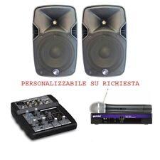 IMPIANTO KARAOKE 817 kit animazione DJ completo con 2 casse mixer microfono cavi