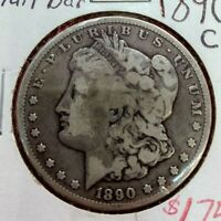 1890 CC $1 Morgan Silver Dollar Coin Choice Fine TAILBAR VAM VARIETY
