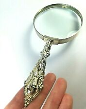 Antique Victorian Silver Plated Magnifying Glass/ Ornate Handle/Art Deco/13.5 cm