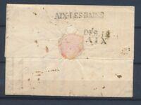 1818 Lettre avec au dos Marque AIX-LES-BAINS + DEB.12 AIX Rare association P4250